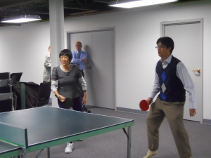 The Singaporean Ping-Pong team: Ee Fong (Lim) and Aaron (Lim)