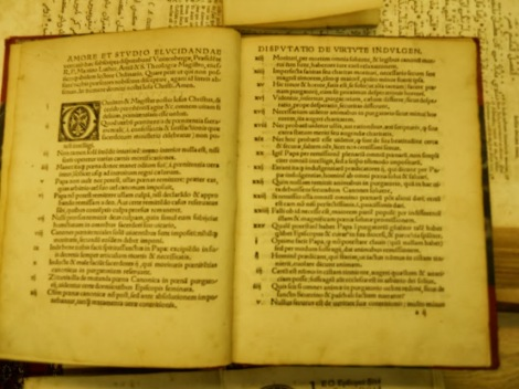 A copy of Luther's 95 theses printed in Latin, dated 1517.