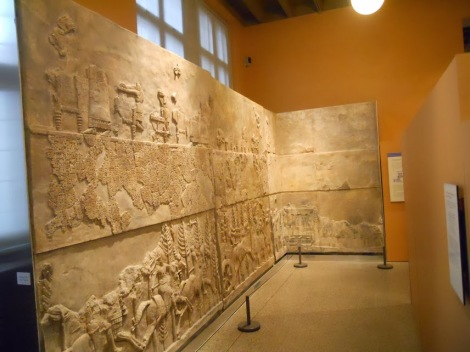 Part of a wall to a Persian palace on display.