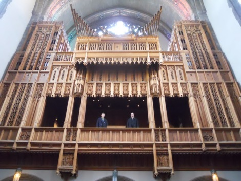 Two students in the organ loft - can you see who they are?