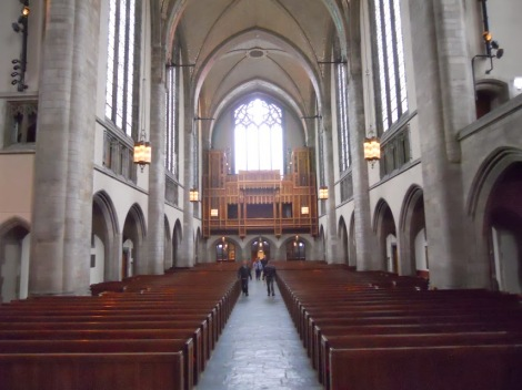 The rear of the Rockefeller Chapel, with the organ loft.