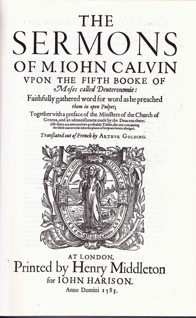 Calvin Sermons On Deut Title Pg
