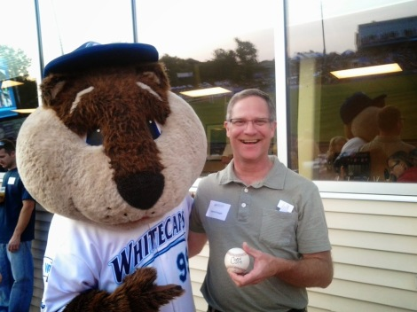 Crash and I with baseball-July 2014