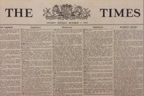 London Times-new roman font-1932