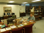 Kevin Rau assisting in the Seminary library.