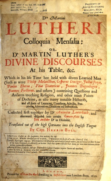 "Title page of Luther's ""Tabletalk"""